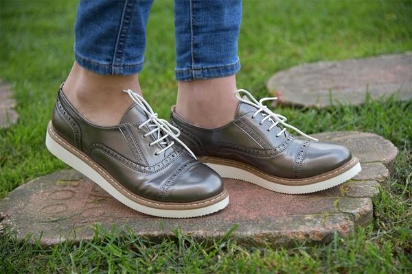 oxford gümüş ayakkabı